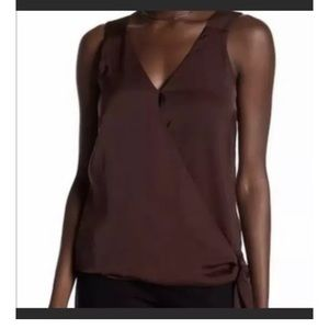 Laundry by Shelli Segal Wrap V-Neck Top Brown 4
